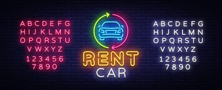 Rent car neon emblem vector design template. Trade Car neon signboard, light banner design element colorful modern design trend, night bright advertising, bright sign. Vector. Editing text neon sign Illustration