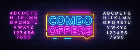 Combo Offers neon text vector design template. Big discount light banner design element colorful modern design trend, night bright advertising, bright sign. Vector. Editing text neon sign.