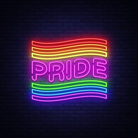 Plantilla de diseño de vector de texto de neón de orgullo. Logotipo de neón LGBT, elemento de diseño de banner de luz colorida tendencia de diseño moderno, publicidad luminosa nocturna, letrero luminoso. Ilustración vectorial Logos