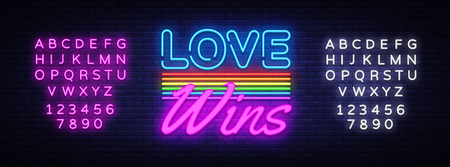 Love Wins Neon Text Vector. Love Wins neon sign, design template, modern trend design, night neon signboard, night bright advertising, light banner. Vector illustration. Editing text neon sign  イラスト・ベクター素材