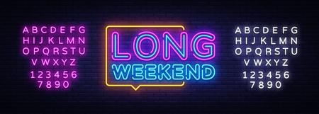Long Weekend neon sign vector. Weekend Design template neon sign, light banner, neon signboard, nightly bright advertising, light inscription. Vector illustration. Editing text neon sign.