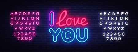 I Love You neon sign vector. Love Design template neon sign, light banner, neon signboard, nightly bright advertising, light inscription. Vector illustration. Editing text neon sign.
