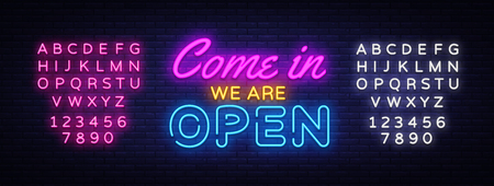 Come in we are Open neon sign vector design template. Open Shop neon text, light banner design element colorful modern design trend, night bright advertising. Vector. Editing text neon sign Иллюстрация