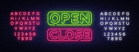 Open Close Neon Text Vector. Open Close neon signboard, design template, modern trend design, night neon signboard, night bright advertising, light banner, light art. Vector. Editing text neon sign