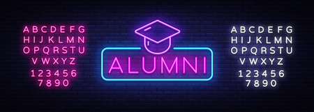 Alumni Neon Sign Vector. Graduation neon symbol, design template, modern trend design, night neon signboard, night bright advertising, light banner, light art. Vector. Editing text neon sign Ilustração