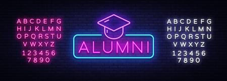 Alumni Neon Sign Vector. Graduation neon symbol, design template, modern trend design, night neon signboard, night bright advertising, light banner, light art. Vector. Editing text neon sign Illustration