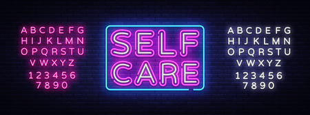Self Care neon sign vector. Motivational Feel Good Design template neon sign, light banner, neon signboard, nightly bright advertising, light inscription. Vector. Editing text neon sign.
