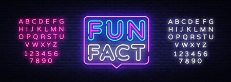 Fun Fact neon sign vector. Facts Design template neon sign, light banner, neon signboard, nightly bright advertising, light inscription. Vector illustration. Editing text neon sign.