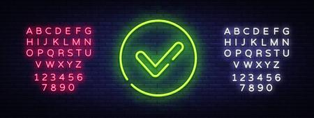 Grünes Häkchen Neon Sign Vector. Checklistenknopf Neonschild, Designvorlage, modernes Trenddesign, Nachtneonschild, nachthelle Werbung, Lichtbanner. Vektor. Bearbeiten von Textleuchtreklamen