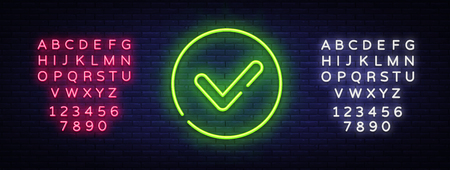 Green check mark Neon Sign Vector. Check list button neon signboard, design template, modern trend design, night neon signboard, night bright advertising, light banner. Vector. Editing text neon sign Archivio Fotografico - 116183707
