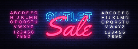 Outlet Sale neon text vector design template. Discount neon banner, light banner design element colorful modern design trend, night bright advertising, bright sign. Vector. Editing text neon sign. Illusztráció