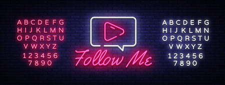 Follow Me neon text vector design template. Subscribe button neon logo, light banner design element colorful modern design trend, night bright advertising, bright sign. Vector. Editing text neon sign.