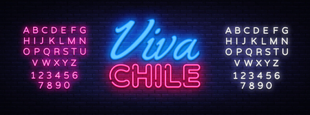 Viva Chile Neon Text Vector. Chile independence day neon sign, design template, modern trend design, night neon signboard, night bright advertising, light banner. Vector. Editing text neon sign.