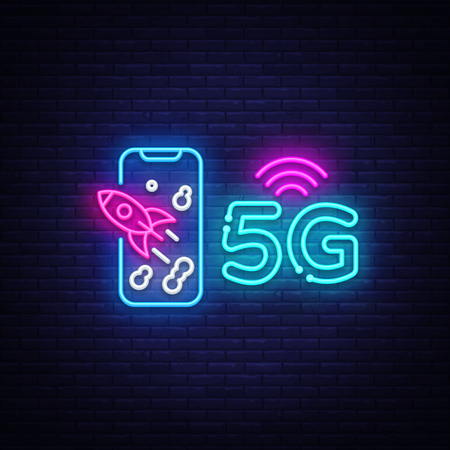 5G new wireless internet wifi connection neon sign vector. 5G Design template neon sign, light banner, neon signboard, nightly bright advertising, light inscription. Vector illustration