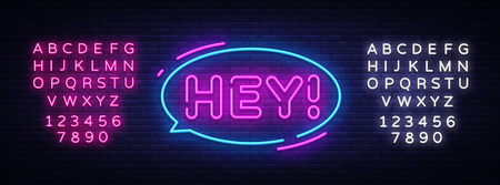 Hey neon text vector design template. Hey sticker neon, light banner design element colorful modern design trend, night bright advertising, bright sign. Vector illustration. Editing text neon sign.