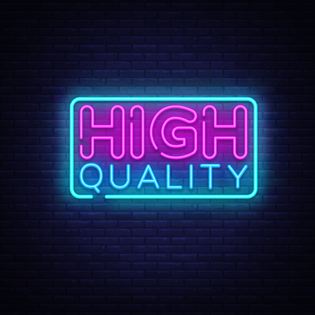 Higt Quality neon sign vector. Premium Quality Design template neon sign, light banner, neon signboard, nightly bright advertising, light inscription. Vector illustration. Illusztráció