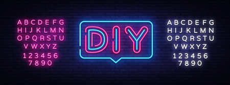 DIY letters Neon Text Vector. Do It Yourself neon sign, design template, modern trend design, night neon signboard, night bright advertising, light banner, light art. Vector. Editing text neon sign.