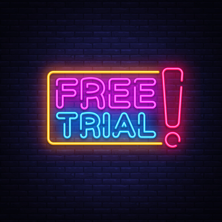 Free Trial Neon Text Vector. Free Trial neon sign, design template, modern trend design, night neon signboard, night bright advertising, light banner, light art. Vector illustration. 일러스트