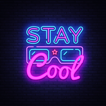 Stay Cool neon sign vector. Stay Cool Slogan Design template neon sign, light banner, neon signboard, nightly bright advertising, light inscription. Vector illustration.