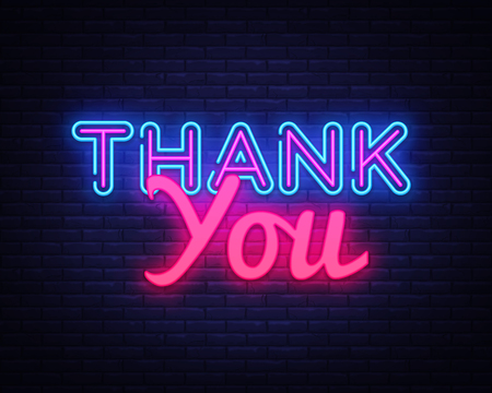 Thank You neon sign vector. Thank You Design template neon sign, light banner, neon signboard, nightly bright advertising, light inscription. Vector illustration.