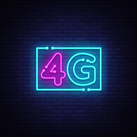 4G new wireless internet wifi connection neon sign vector. 4G Design template neon sign, light banner, neon signboard, nightly bright advertising, light inscription. Vector illustration Иллюстрация