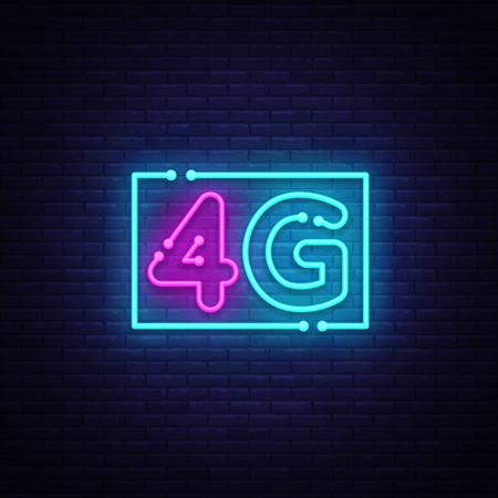 4G nouveau vecteur de signe au néon de connexion wifi internet sans fil. 4G Design modèle enseigne au néon, bannière lumineuse, enseigne au néon, publicité lumineuse nocturne, inscription lumineuse. Illustration vectorielle
