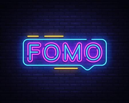 Fomo Neon Text Vector. Fomo neon sign, design template, modern trend design, night neon signboard, night bright advertising, light banner, light art. Vector illustration. Illustration