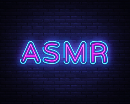 ASMR Neon Text Vector. Autonomous sensory meridian response neon sign, design template, modern trend design, night neon signboard, night bright advertising, light banner, light art. Vector