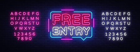 Free Entry neon text vector design template. Free admission signboard neon, light banner design element colorful modern design trend, night bright advertising, bright sign. Editing text neon sign.