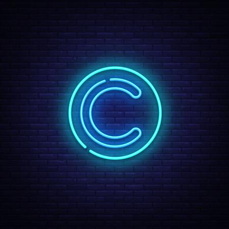 Vecteur d'enseigne au néon de droit d'auteur. Copyrights Design template enseigne au néon, bannière lumineuse, enseigne au néon, publicité lumineuse nocturne, inscription lumineuse. Illustration vectorielle