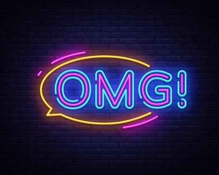 OMG neon sign vector. OMG pop art Design template neon sign, light banner, neon signboard, nightly bright advertising, light inscription. Vector illustration.