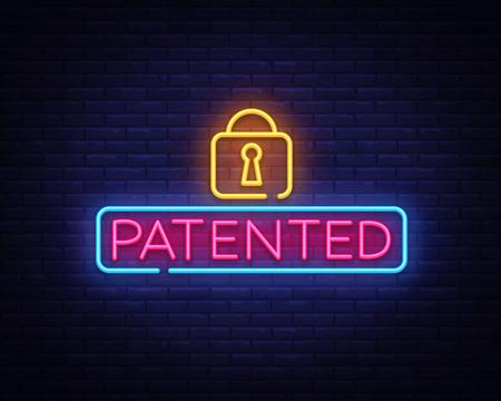 Patented neon sign vector. Copyright Design template neon sign, light banner, neon signboard, nightly bright advertising, light inscription. Vector illustration.
