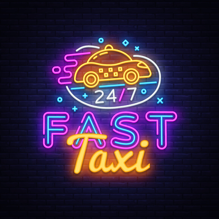 Fast Taxi neon sign vector. Taxi Service Design template neon sign, light banner, neon signboard, nightly bright advertising, light inscription. Vector illustration. Иллюстрация