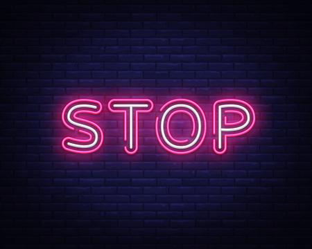 Stop neon text vector design template. Stop neon logo, light banner design element colorful modern design trend, night bright advertising, bright sign. Vector illustration Foto de archivo - 118742430