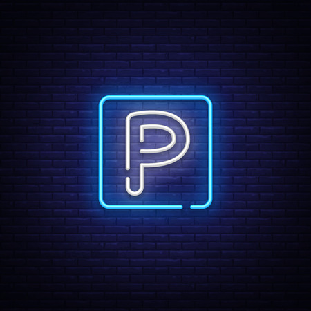 Parking neon sign vector. Parking Zone Design template neon sign, light banner, neon signboard, nightly bright advertising, light inscription. Vector illustration