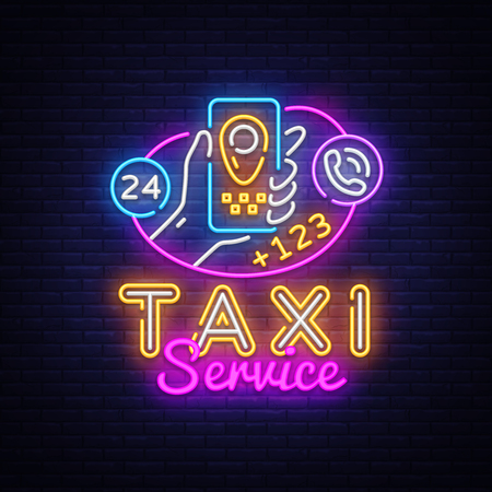 Taxi Service Neon Signboard Vector. Taxi Online neon sign, Hands with smartphone and taxi application design template, modern trend design, night neon signboard, night bright advertising. Vector.