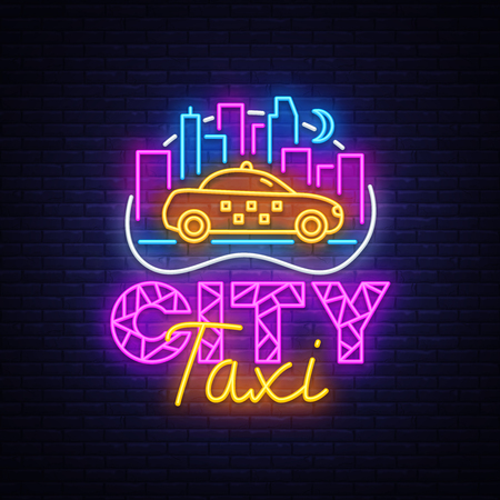 Taxi Service neon sign vector design template. City Taxi neon logo concept, light banner design element colorful modern design trend, night bright advertising, bright sign. Vector illustration