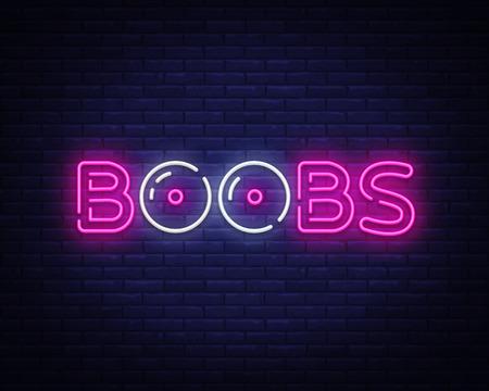Boobs Neon-Text-Vektor-Design-Vorlage. Boobs Neon-Logo, Shop, helles Banner-Design-Element bunter moderner Designtrend, nachthelle Werbung. Vektor-Illustration Logo