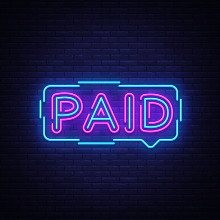 Paid neon sign vector. Paid Design template neon sign, light banner, neon signboard, nightly bright advertising, light inscription. Vector illustration.
