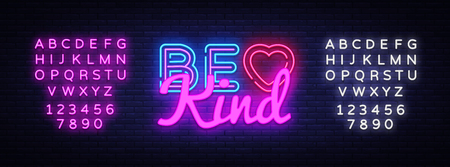 Be Kind neon sign vector. Be Kind Design template neon sign, light banner, neon signboard, nightly bright advertising, light inscription. Vector illustration. Editing text neon sign.