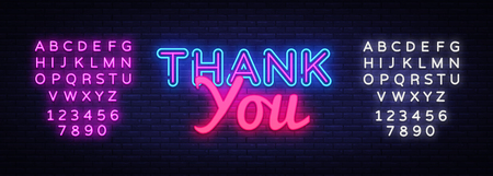 Thank You neon sign vector. Thank You Design template neon sign, light banner, neon signboard, nightly bright advertising, light inscription. Vector illustration. Editing text neon sign. Иллюстрация