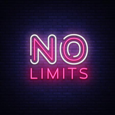 Aucun vecteur de texte néon de limites. Enseigne au néon No Limits, modèle de conception, design tendance moderne, enseigne au néon de nuit, publicité lumineuse de nuit, bannière lumineuse, art lumineux. Illustration vectorielle.