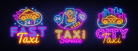 Big collectin neon signs for Taxi Service design template. Taxi neon logos concept, light banner design element colorful modern design trend, night bright advertising, bright sign. Vector illustration Иллюстрация