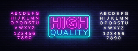 Higt Quality neon sign vector. Premium Quality Design template neon sign, light banner, neon signboard, nightly bright advertising, light inscription. Vector illustration. Editing text neon sign.