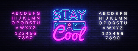 Stay Cool neon sign vector. Stay Cool Slogan Design template neon sign, light banner, neon signboard, nightly bright advertising, light inscription. Vector illustration. Editing text neon sign.