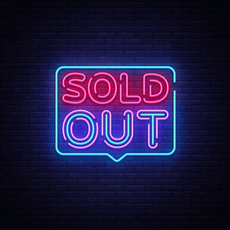 Sold Out neon text vector design template. Sold Out neon logo, light banner design element colorful modern design trend, night bright advertising, bright sign. Vector illustration.