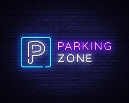 Parkeerzone Neon uithangbord Vector. Parkeren neonbord, ontwerpsjabloon, modern trendontwerp, nacht heldere reclame, lichtbanner, lichtkunst. vector illustratie Vector Illustratie