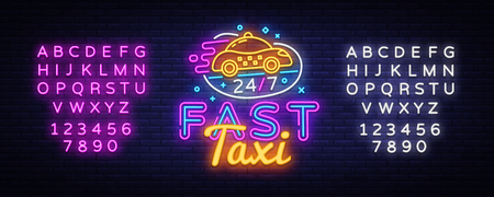 Fast Taxi neon sign vector. Taxi Service Design template neon sign, light banner, neon signboard, nightly bright advertising, light inscription. Vector illustration. Editing text neon sign.