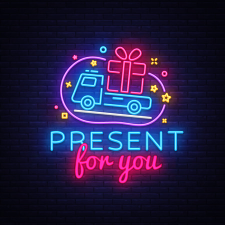 Prizes for you neon sign vector. Gift Design template neon sign, light banner, neon signboard, nightly bright advertising, light inscription. Vector illustration.  イラスト・ベクター素材