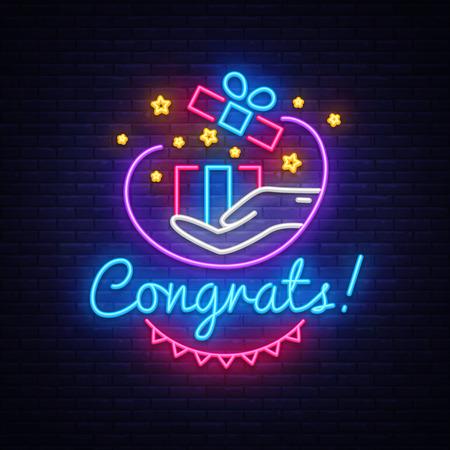 Congrats Neon Signboard Vector. Gift neon sign, design template, modern trend design, night neon signboard, night bright advertising, light banner, light art. Vector illustration. Ilustração